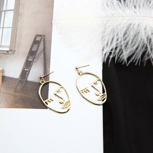 Hollow Face Gold Color Earrings